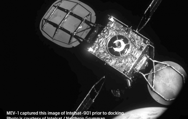 MEV-1 (MEV-2 precursor mission) captured this image of Intelsat-901 prior to docking in February 2020. Image: courtesy of Northrop Grumman/SpaceLogistics.