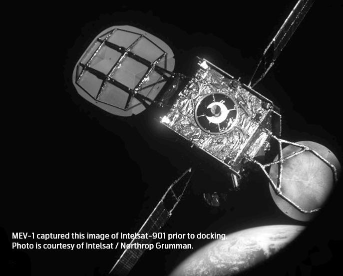 MEV-1 (MEV-2 precursor mission) captured this image of Intelsat-901 prior to docking in February 2020. Image: courtesy of Northrop Grumman/SpaceLogistics.