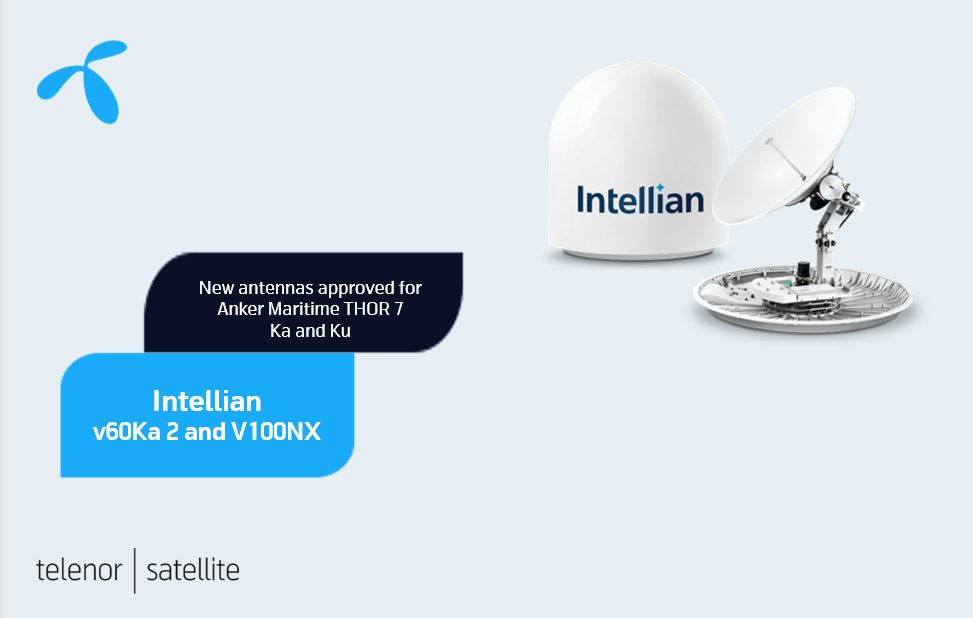 Telenor Satellite approves Intellian v60Ka 2 and v100NX antennas for THOR 7 Ka and Ku